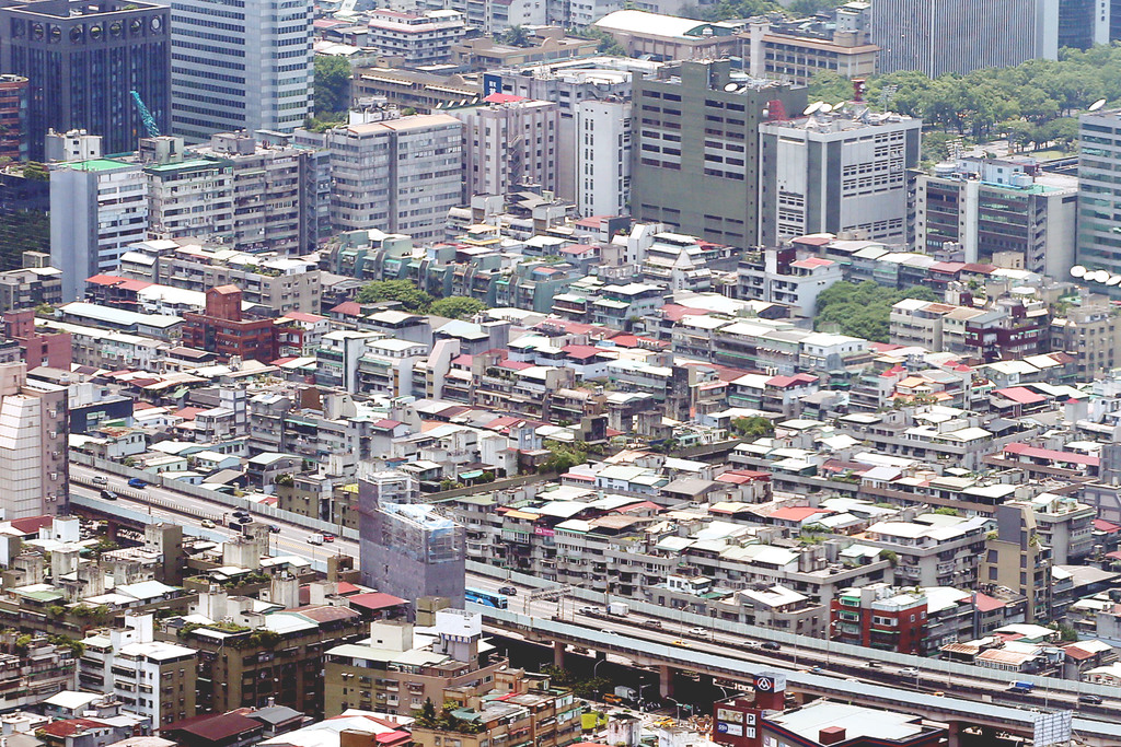 Countless illegal additions on the roofs of buildings in Taipei.