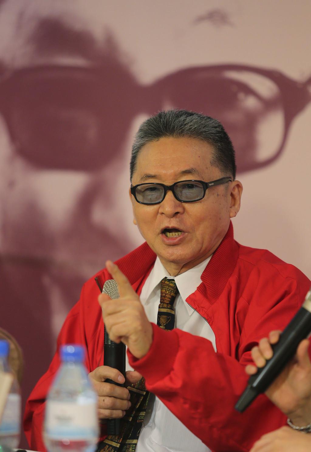 作家李敖(圖)23日在台北出席新書發表會,對現今政治現況發表看法。中央社記者徐肇昌攝  104年4月23日