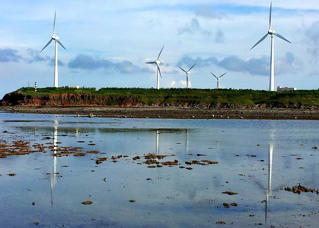 Taipower built 11 wind turbines in Penghu island coastline in 2015.