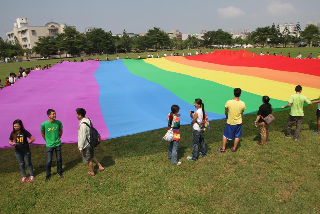 Gays mark Double Ten with rainbow flag