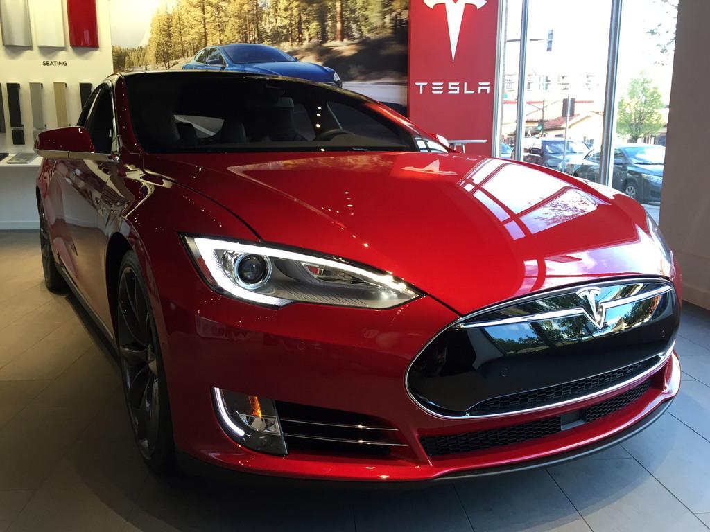 Telsa electric vehicle displayed in Kansas City in U.S.