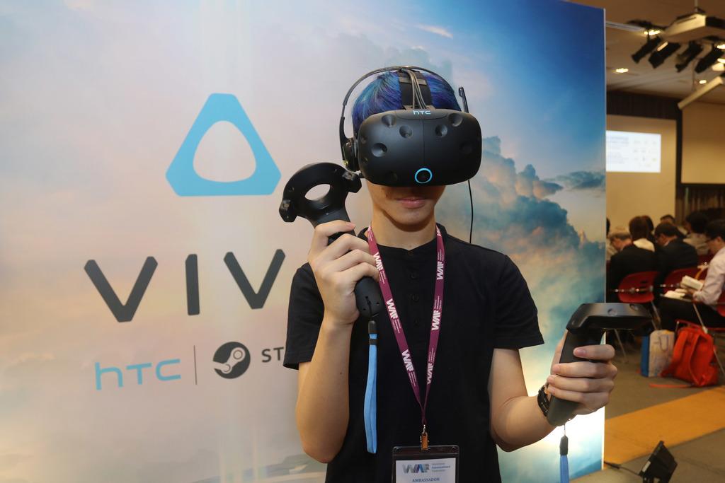 A man tests out HTC Vive