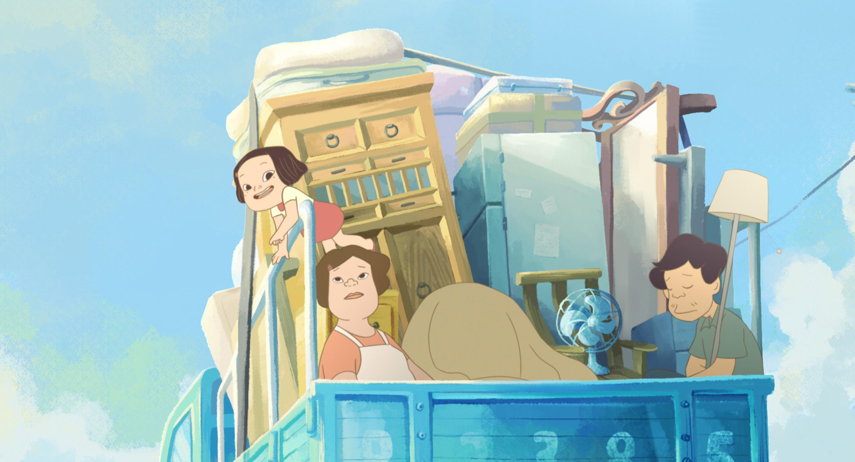 台灣動畫電影「幸福路上」以樸實細緻的畫風及饒富趣 味的人物故事,入選今年釜山影展的「年度動畫單元」 ,將與原吉卜力團隊的「瑪麗與魔女之