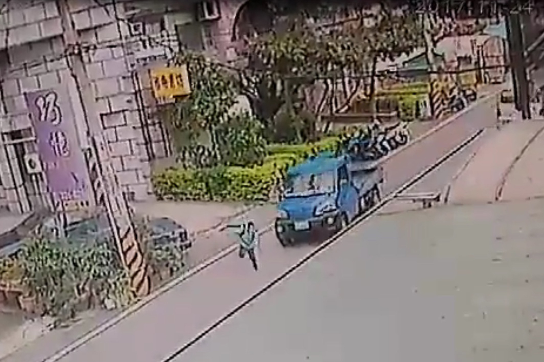 CCTV video of boy being struck by truck.