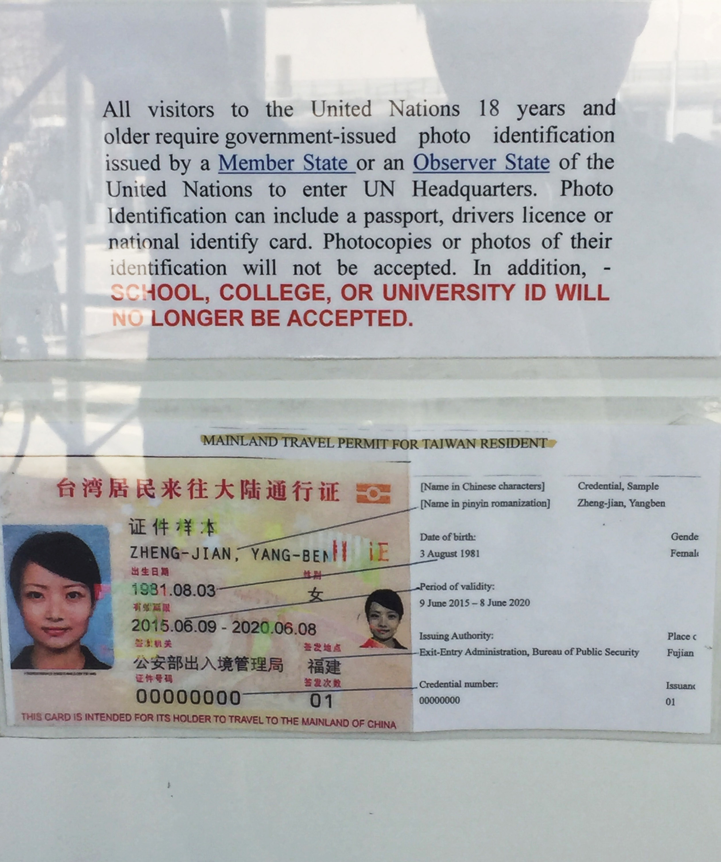 Taiwanese citizens are only allowed to visit UN premises in New York with documents issued by China.