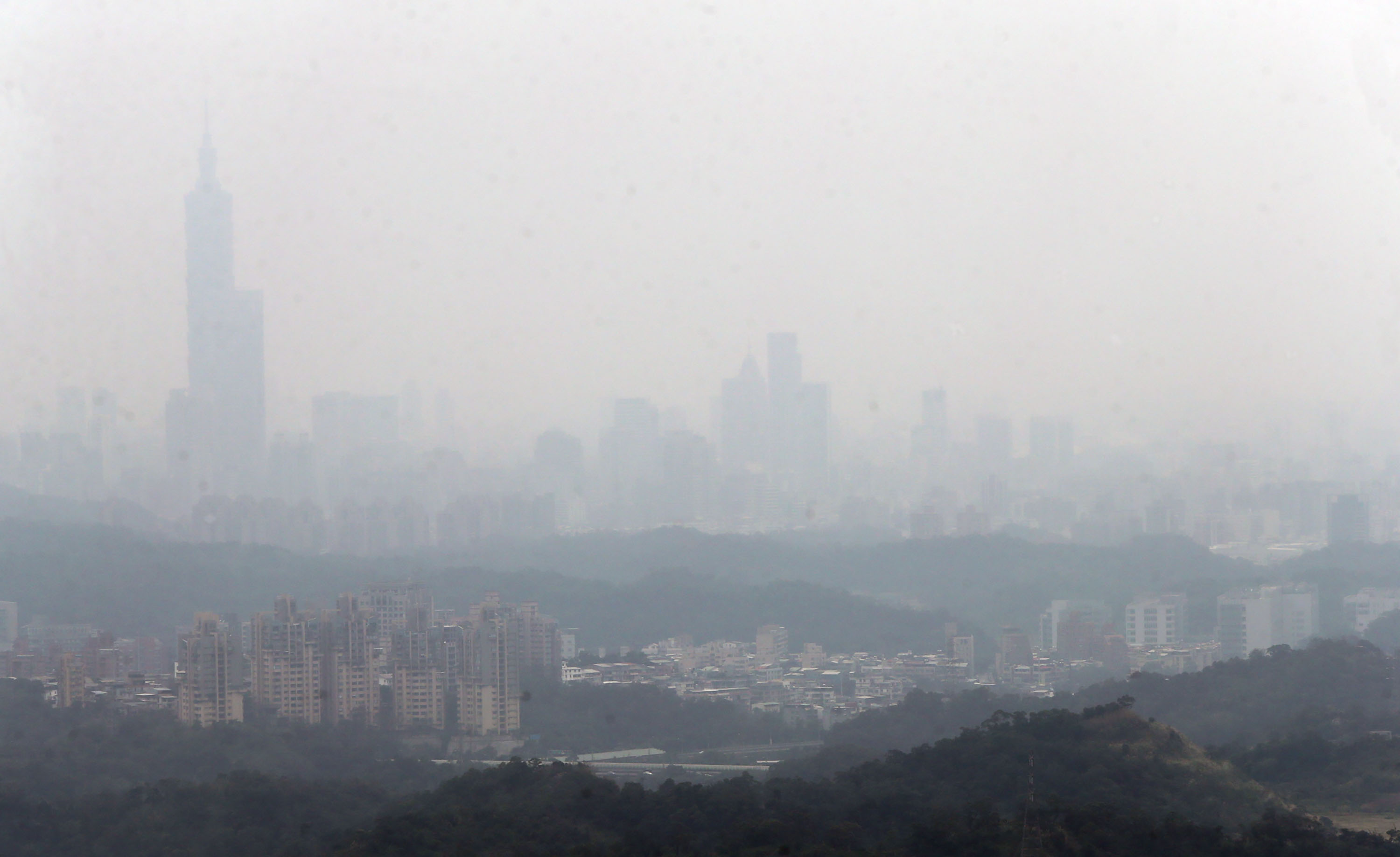Taipei skyline on heavily polluted day.