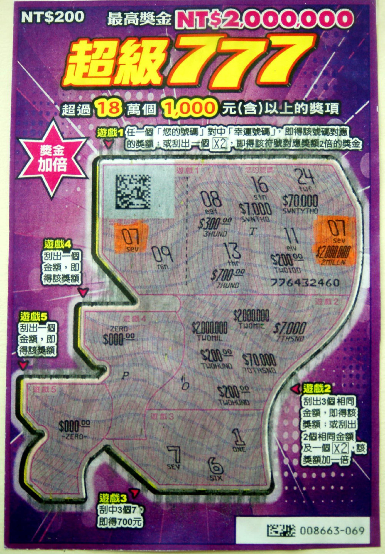 Man wins NT$2 million Taiwan Super 777 scratch lottery jackpot