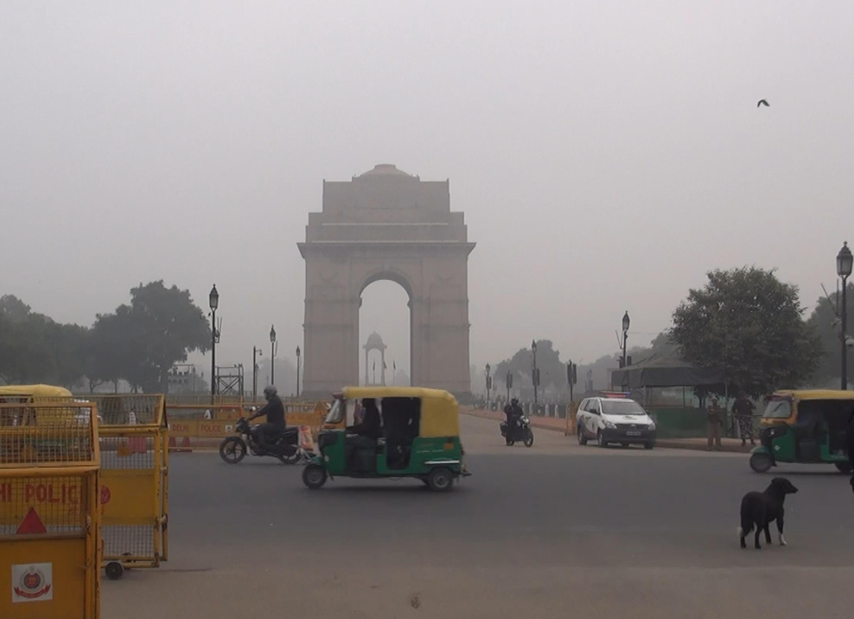 新德里市中心的印度門。中央社記者康世人新德里攝  107年1月3日