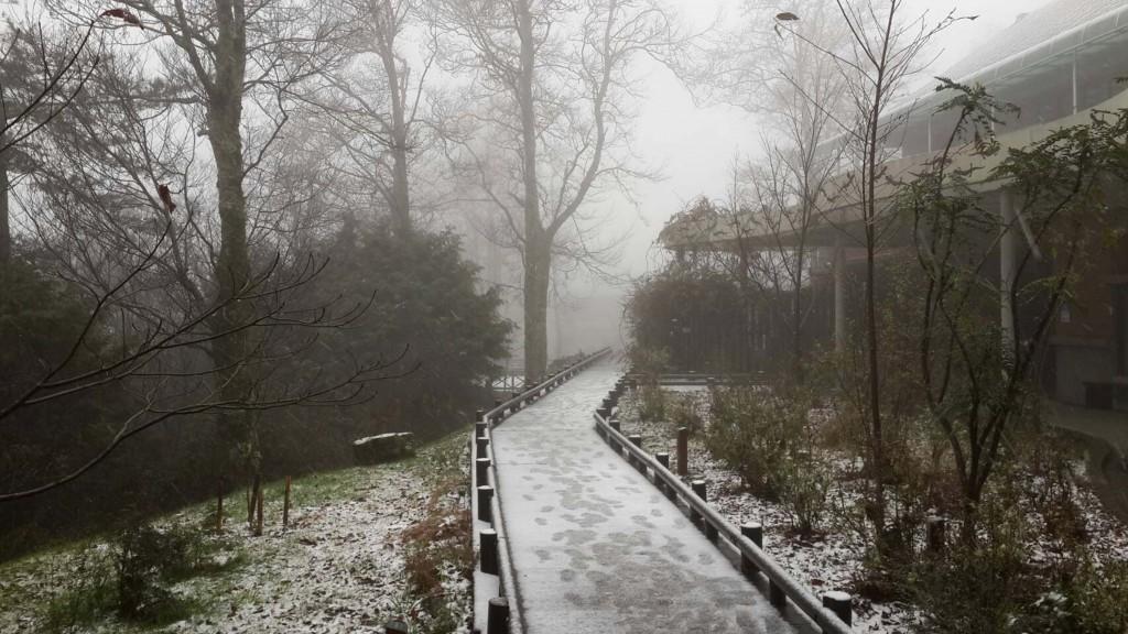 內政部保安警察第七總隊第五大隊指出,5日上午雪霸 國家公園觀霧遊憩區開始飄雪,路面上也出現積雪的情 況,呼籲民眾上山先應先準備好雪鏈等裝備