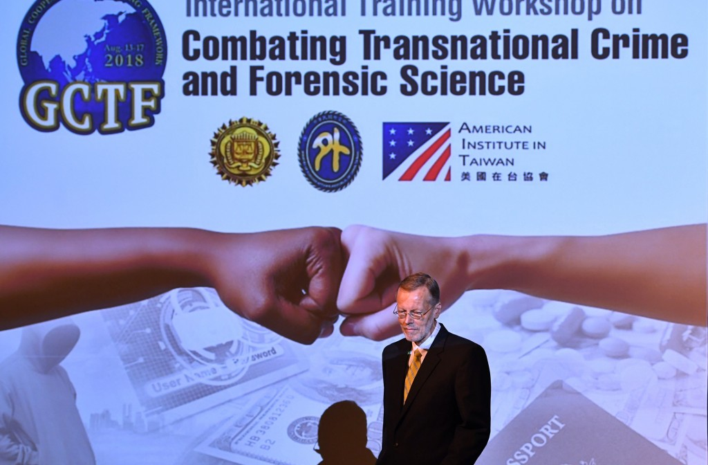 AIT Director William Christensen opens a GCTF workshop on law enforcement in Taipei on Aug. 14 (Source: CNA/ File photo)