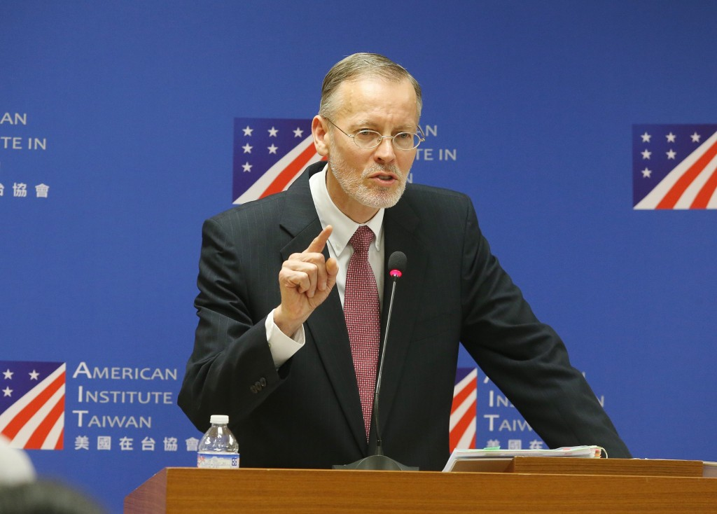 AIT Director Brent Christensen holds a press conference at the American Center in Taipei on Oct. 31 (Source: CNA)