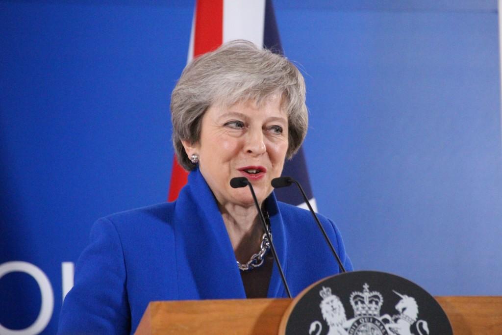 歐洲聯盟成員國11月25日通過英國脫歐協議,英國首相 梅伊當天在布魯塞爾舉行記者會,呼籲英國國會同意通 過。 中央社記者唐佩君布魯塞
