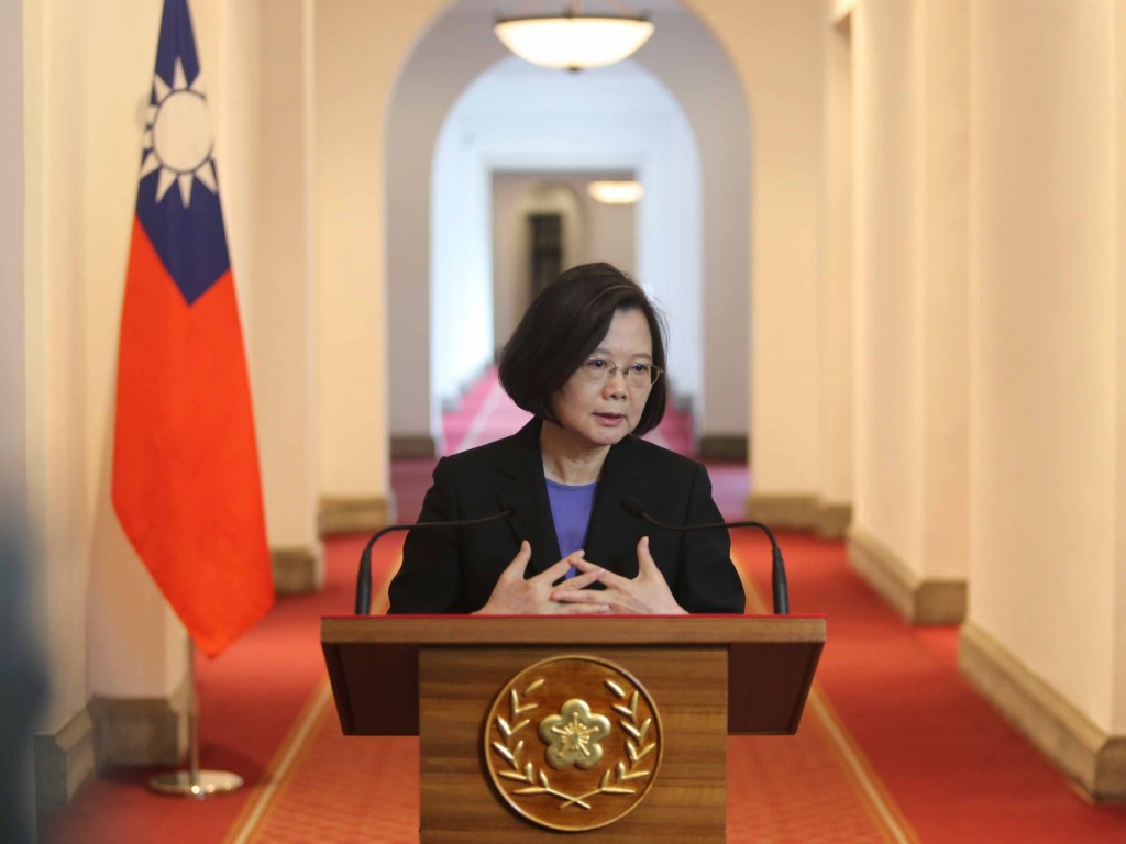Tsai during a talk at the Presidential office Building earlier this month