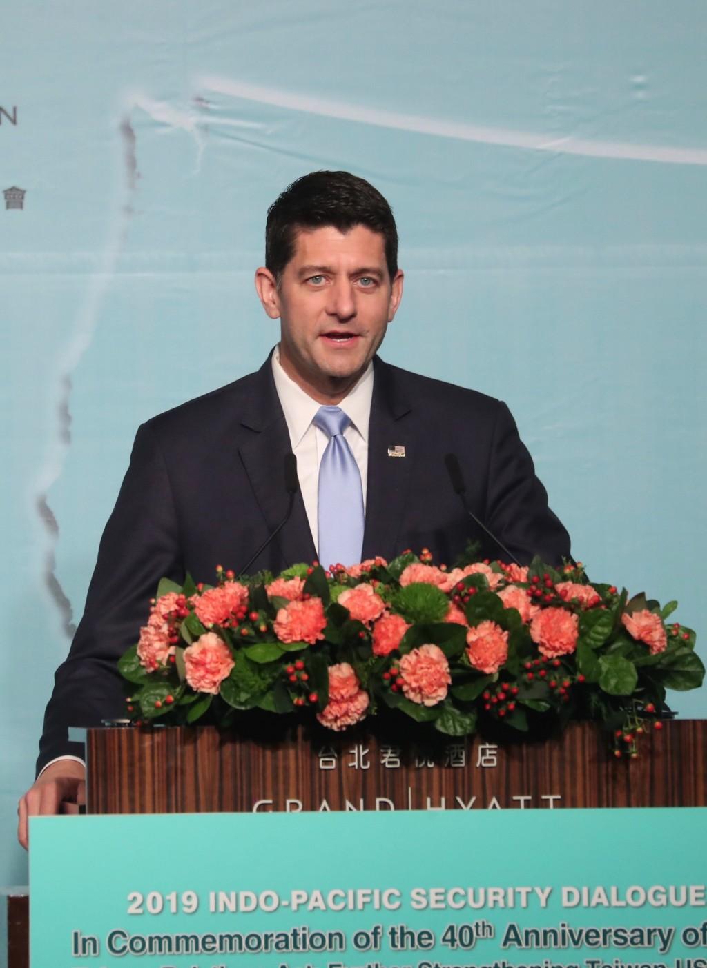 美國聯邦眾議院前議長萊恩(Paul Ryan)(圖)16日 在台北,出席「2019印太安全對話開幕典禮」。 中央社記者吳家昇攝  10