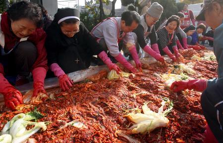 南韓一所廟宇的志工二十日一起製作傳統泡菜,準備在冬天時送給窮人。歐新社九十五年十一月二十一日