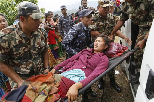Helicopters ferry injured from Nepal villages near epicenter