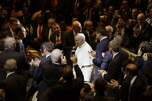 A glare, a handshake, a pope: Busy UN summit makes history