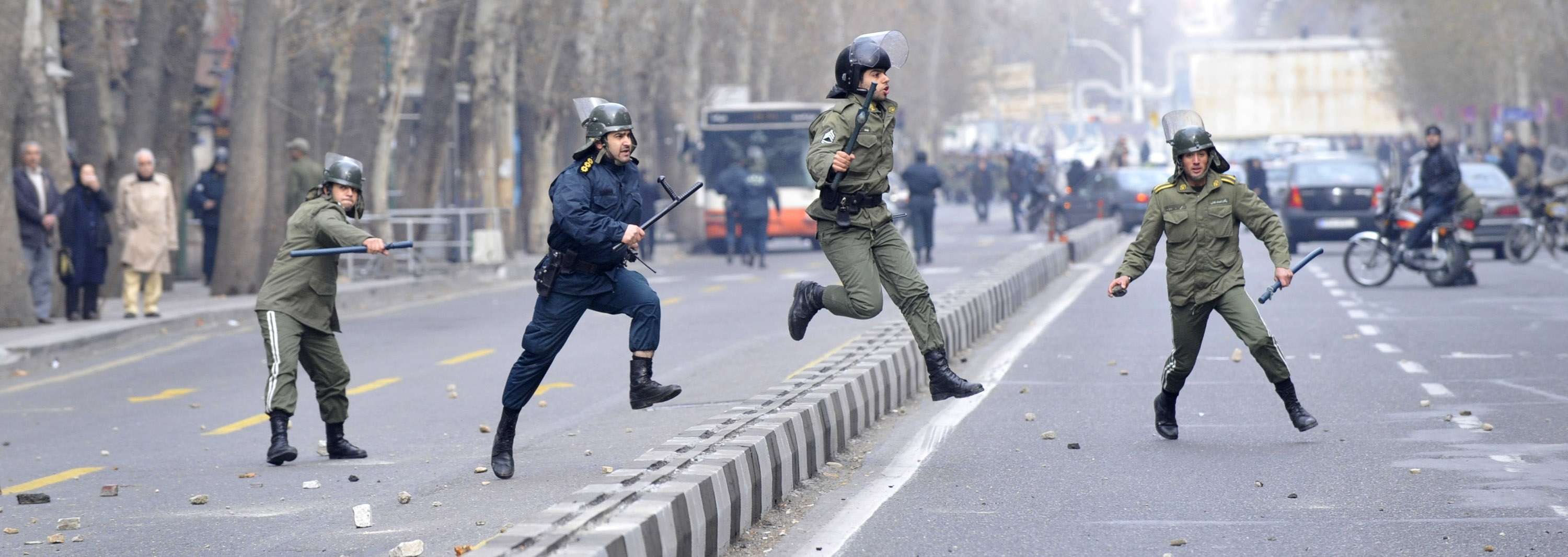 This photo, taken by an individual not employed by the Associated Press and obtained by the AP outside Iran, shows Iranian anti-riot police officers f...