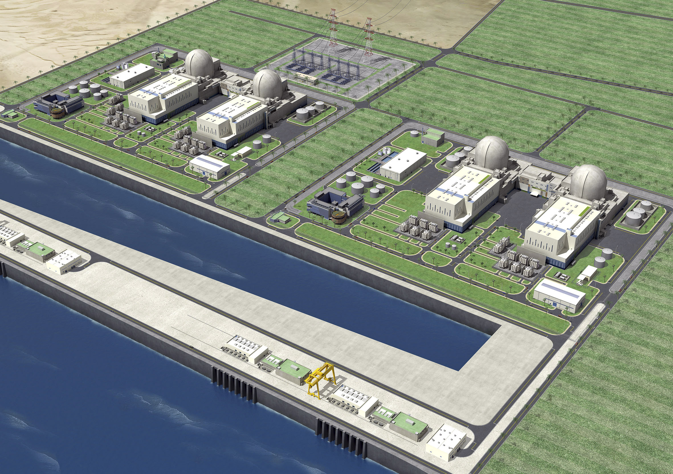 Nuclear power plants to be built by a South Korea-led consortium in Sila, 330km west of Abu Dhabi, United Arab Emirates in this illustration rendering...
