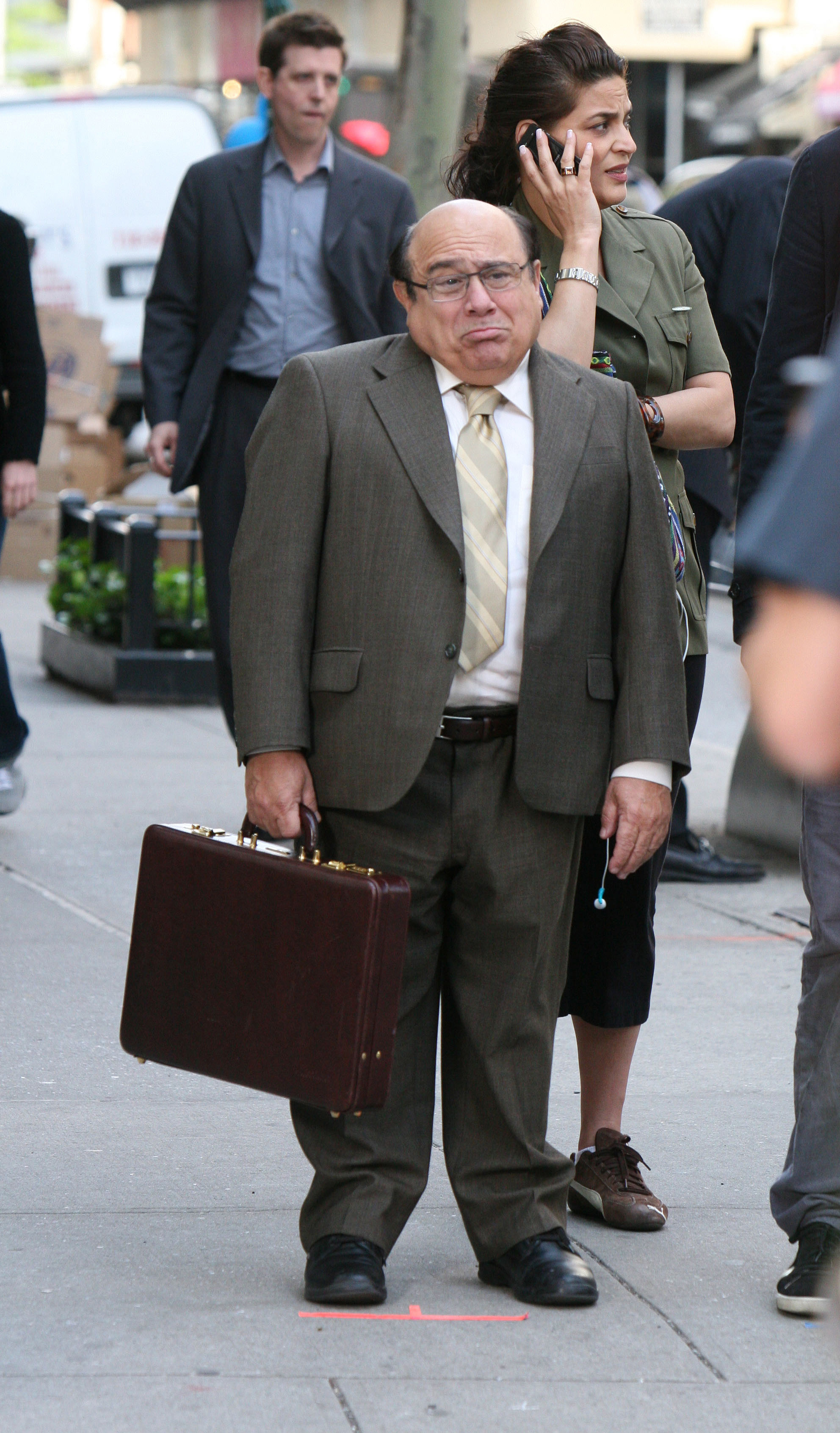 Danny DeVito films a scene from the feature film 偁hen in Rome' on Madison Avenue in New York, New York in this May 2008 file photo. Last Wednesday, Ne...