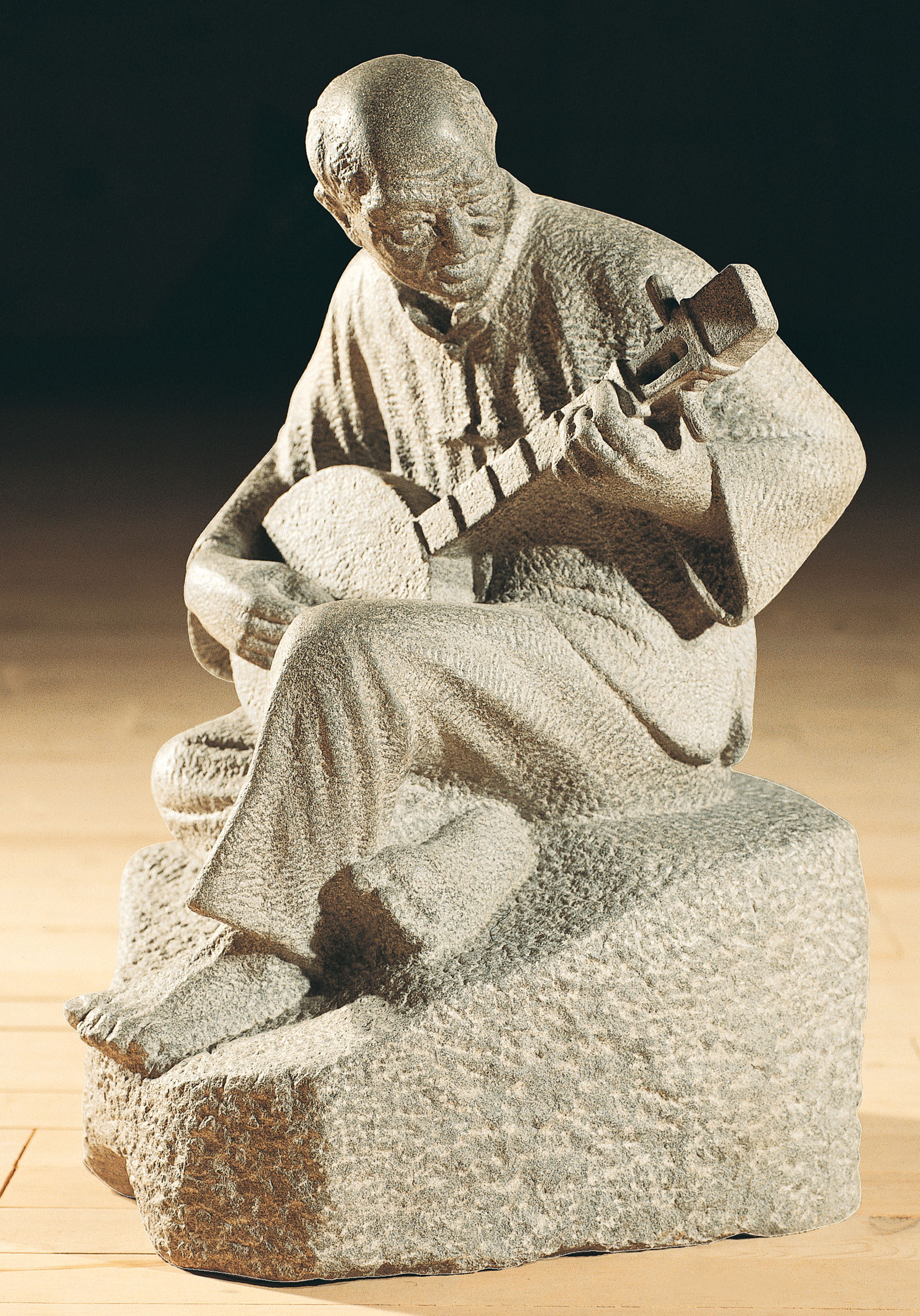 The Old Man and His Four-stringed Musical Instrument The piece by Wang Hsiu-chi has a peaceful disposition and natural beauty.
