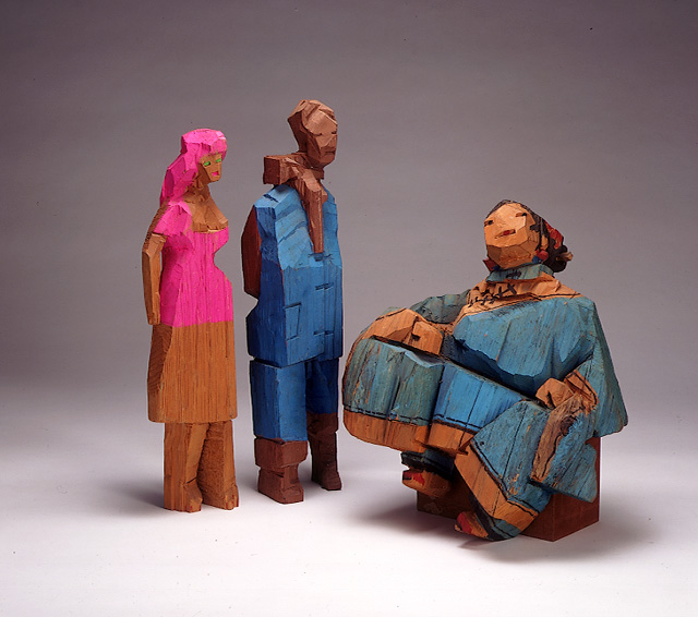 Living World Series - Gossiping Another piece of Ju's painted wood sculptures