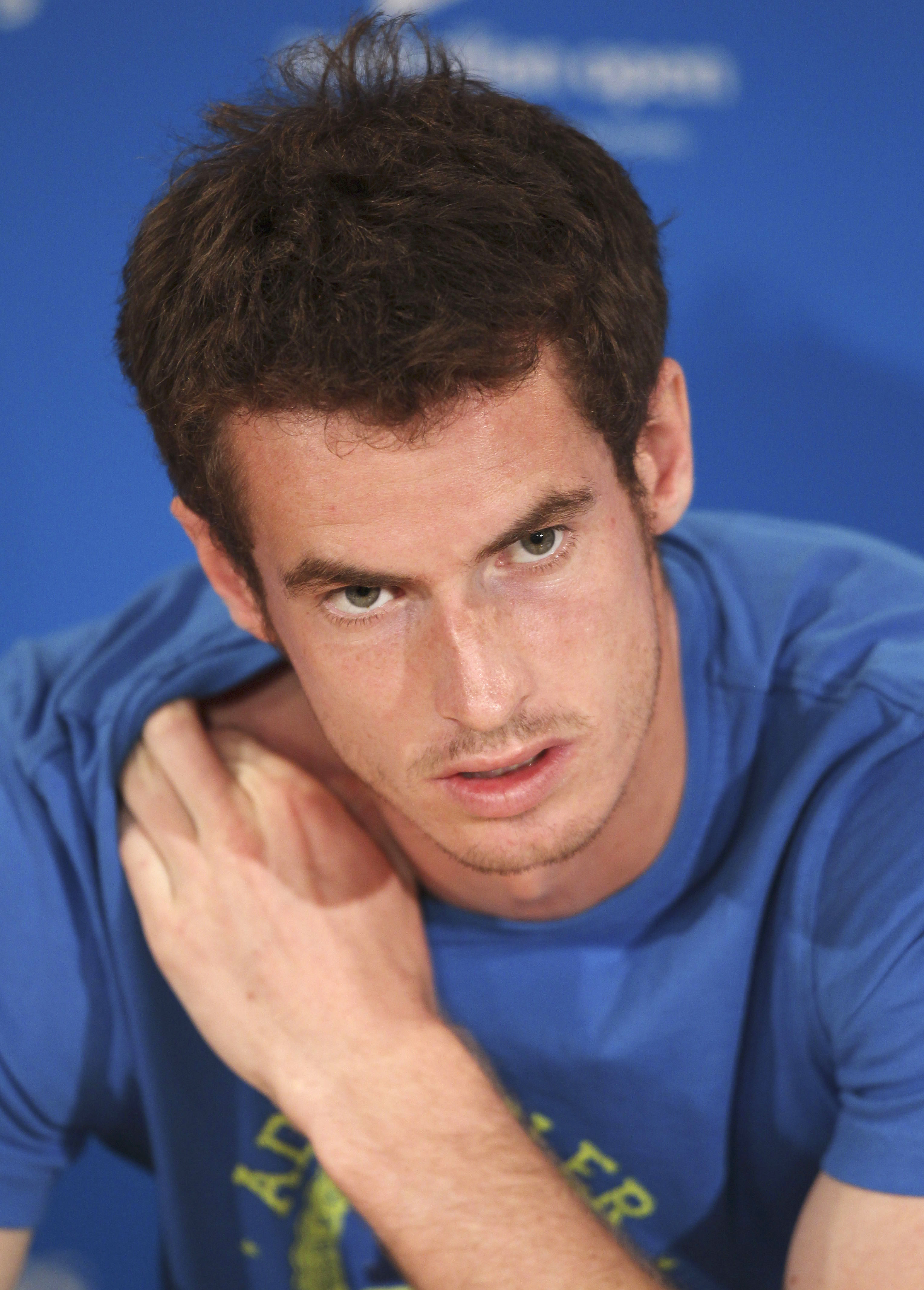 Andy Murray of Britain speaks during a press conference at the Australian Open tennis championship in Melbourne, Australia yesterday.
