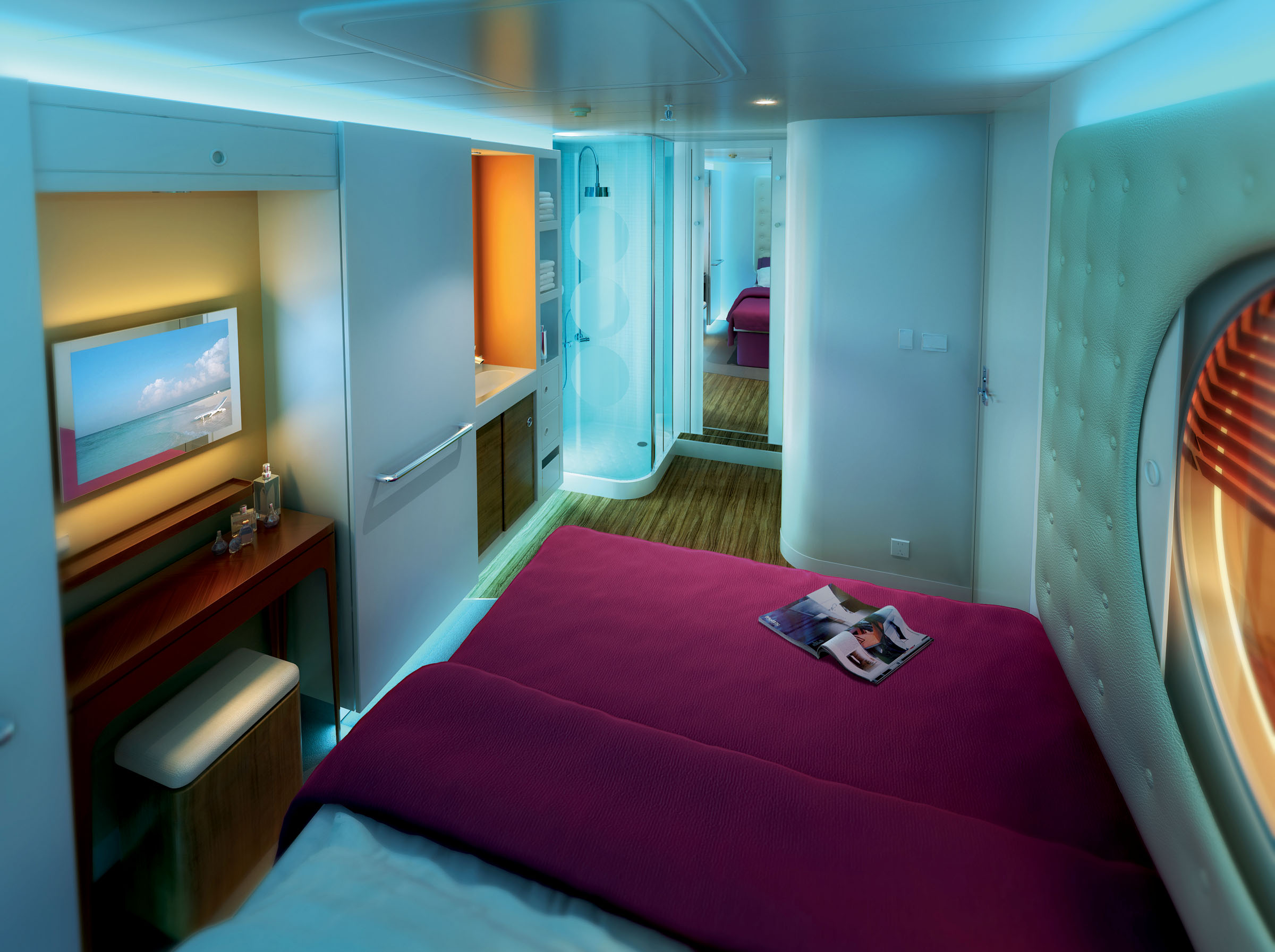 This rendering from Norwegian Cruise Line shows what a studio stateroom will look like on Norwegian Epic, a new ship scheduled to launch in June. Thes...