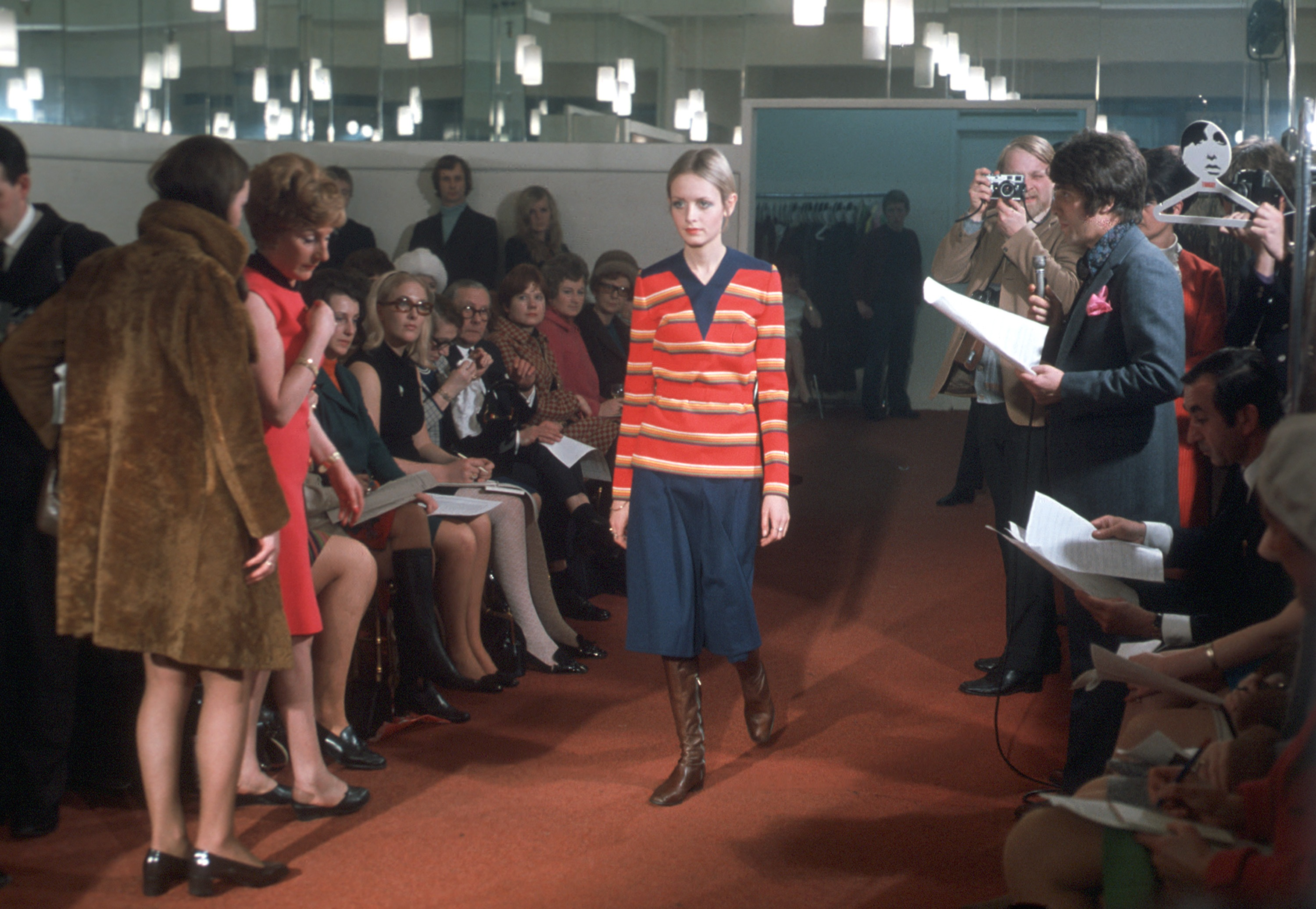 Twiggy in one of her designs for HSN, in London, England in this undated photo released by Home Shopping Network, HSN.
