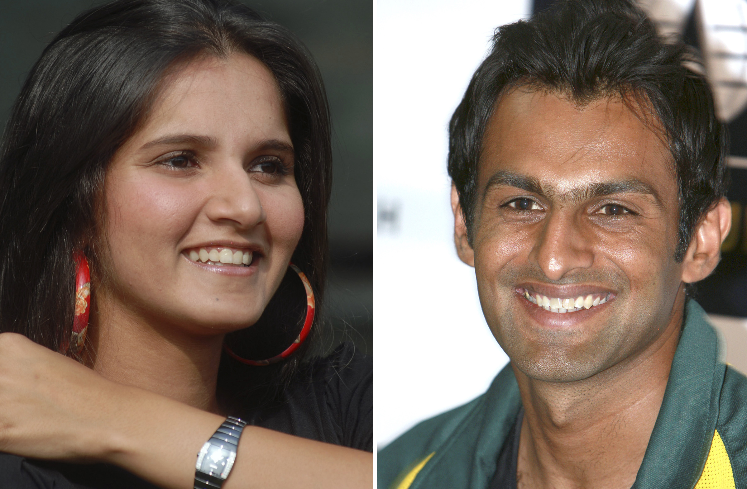 In this combination of two file photos, Indian tennis player Sania Mirza at a press conference in Hyderabad, India, on Feb. 4, 2008, left, and Pakista...