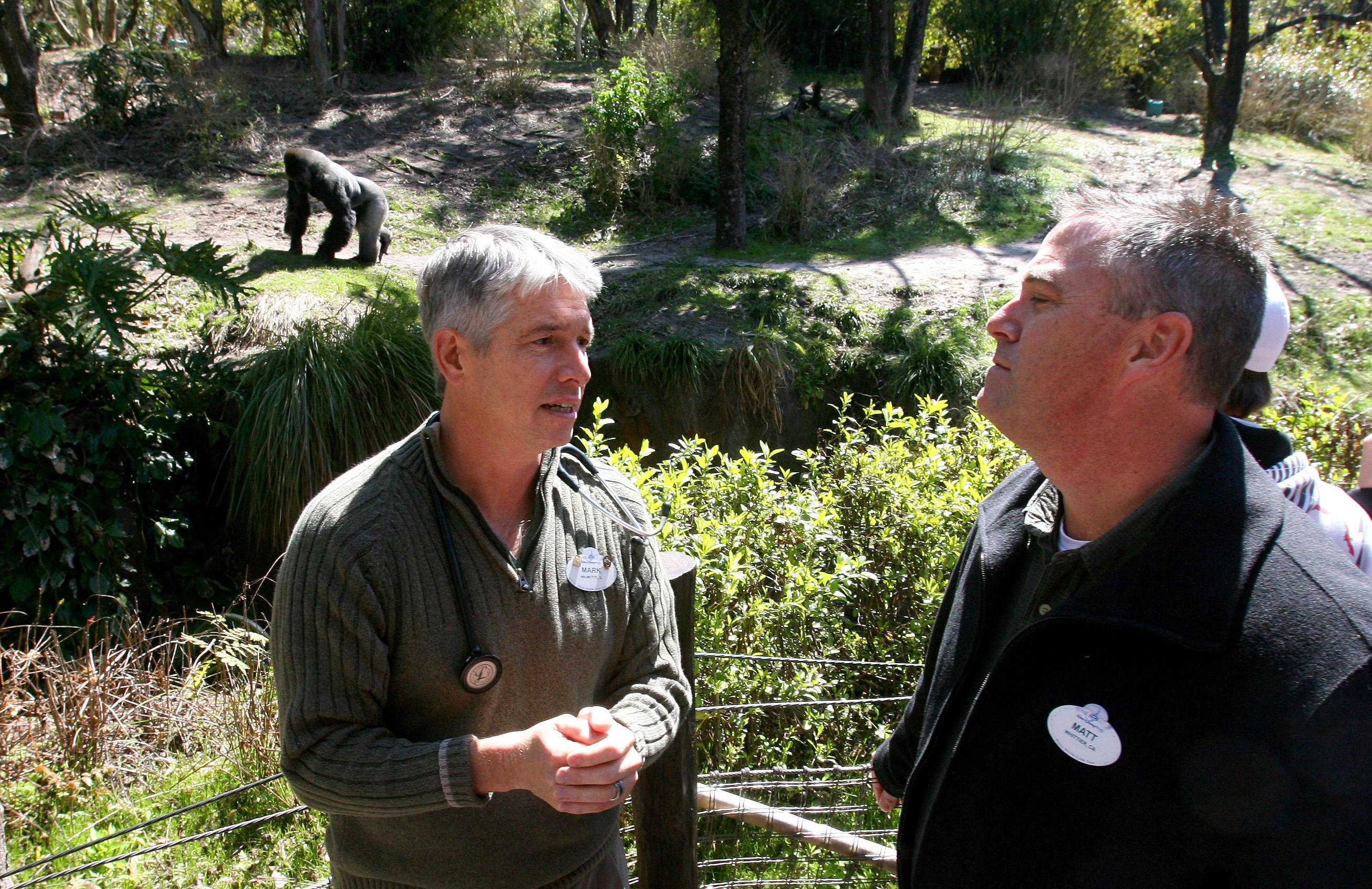 Dr. Mark Stetter, left, director of animal health for Disney's Animal Programs, talks with Matt Hohne, animal operations director for Disney's Animal ...