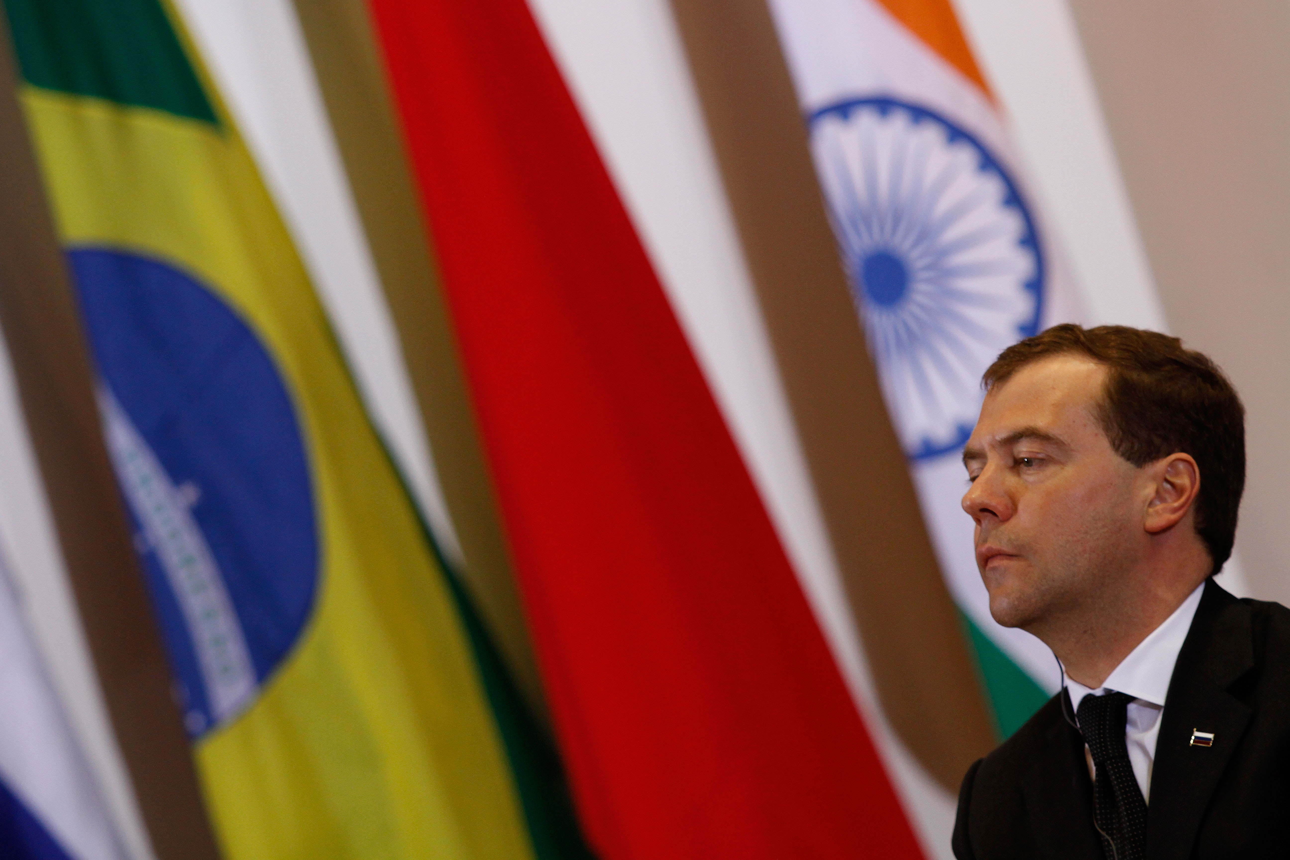 Russia's President Dmitri Medvedev attends the BRIC summit at the Itamaraty palace in Brasilia, Brazil on Thursday. The BRIC summit is a gathering of ...