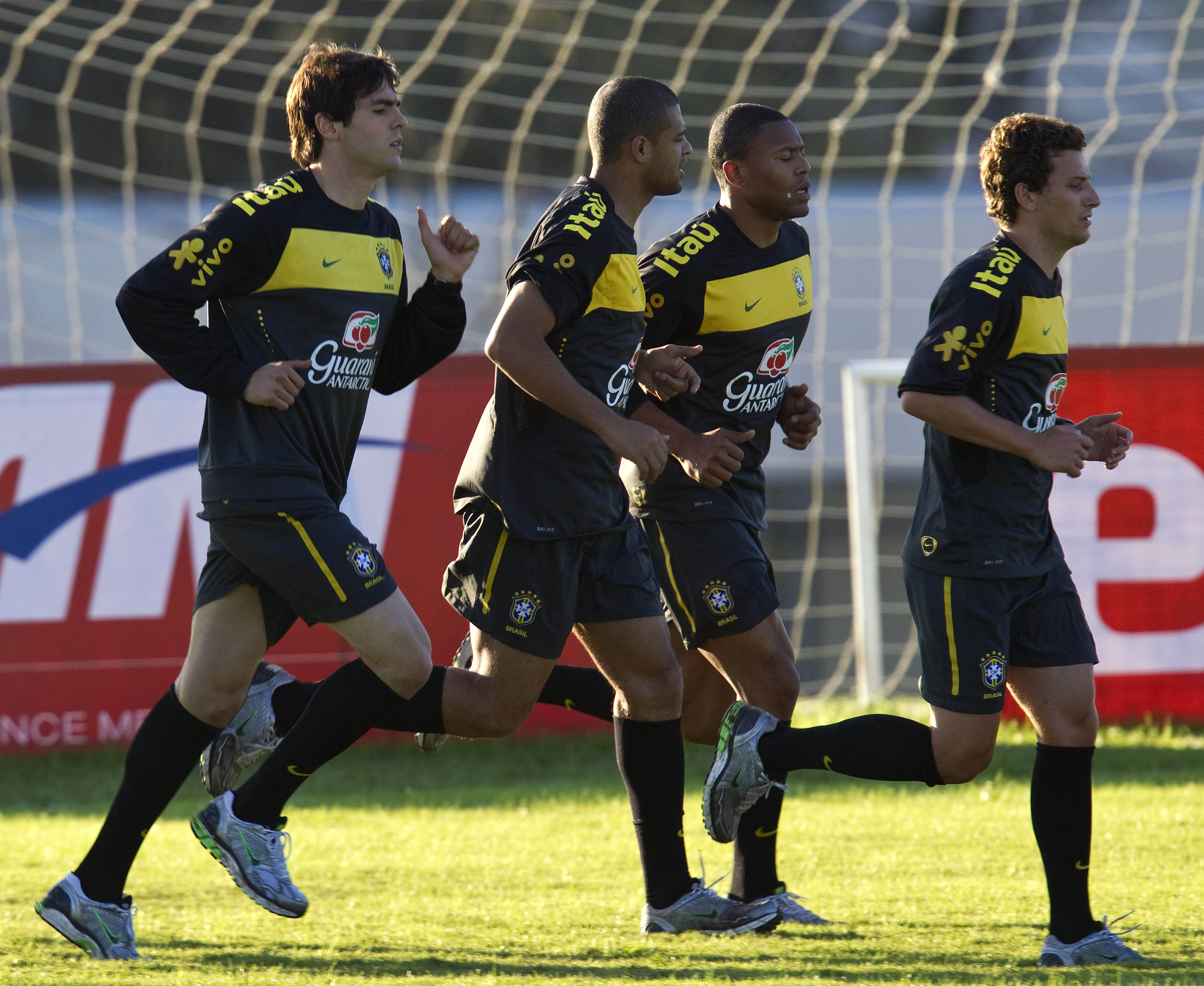Brazil's soccer players, from left, Kaka, Felipe Melo, Julio Baptista and Elano train during a practice session in preparation for the upcoming South ...