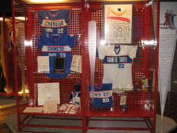 """Jerseys were by Taiwan national baseball team players who won the silver medal in the 1992 Barcelona Olympics are seen displaying in """"Taiwan Baseball ..."""