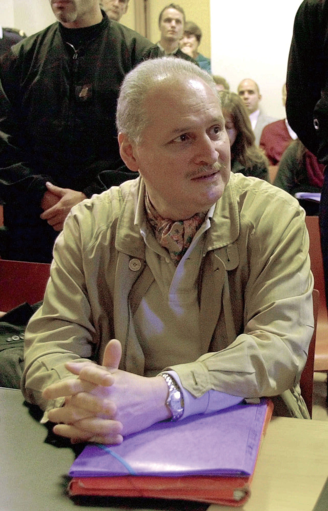 In this Tuesday, Nov. 28, 2000 file photo, Venezuelan international terrorist Carlos the Jackal whose real name is Ilich Ramirez Sanchez, sits in a Pa...