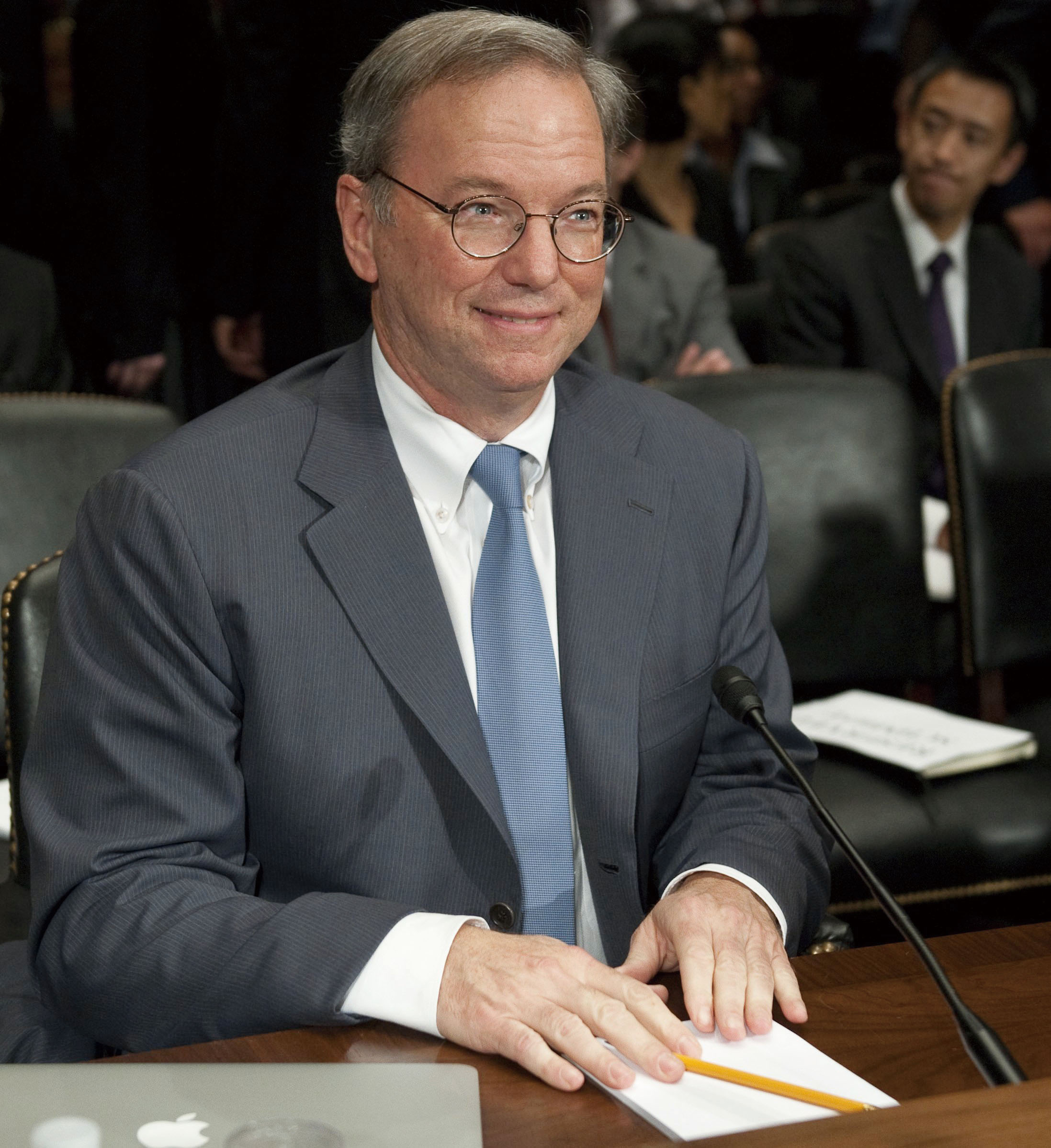 File photo shows Eric Schmidt, Chairman of Google, attends a hearing on Google's business and privacy practices on Capitol Hill in Washington, DC, Sep...