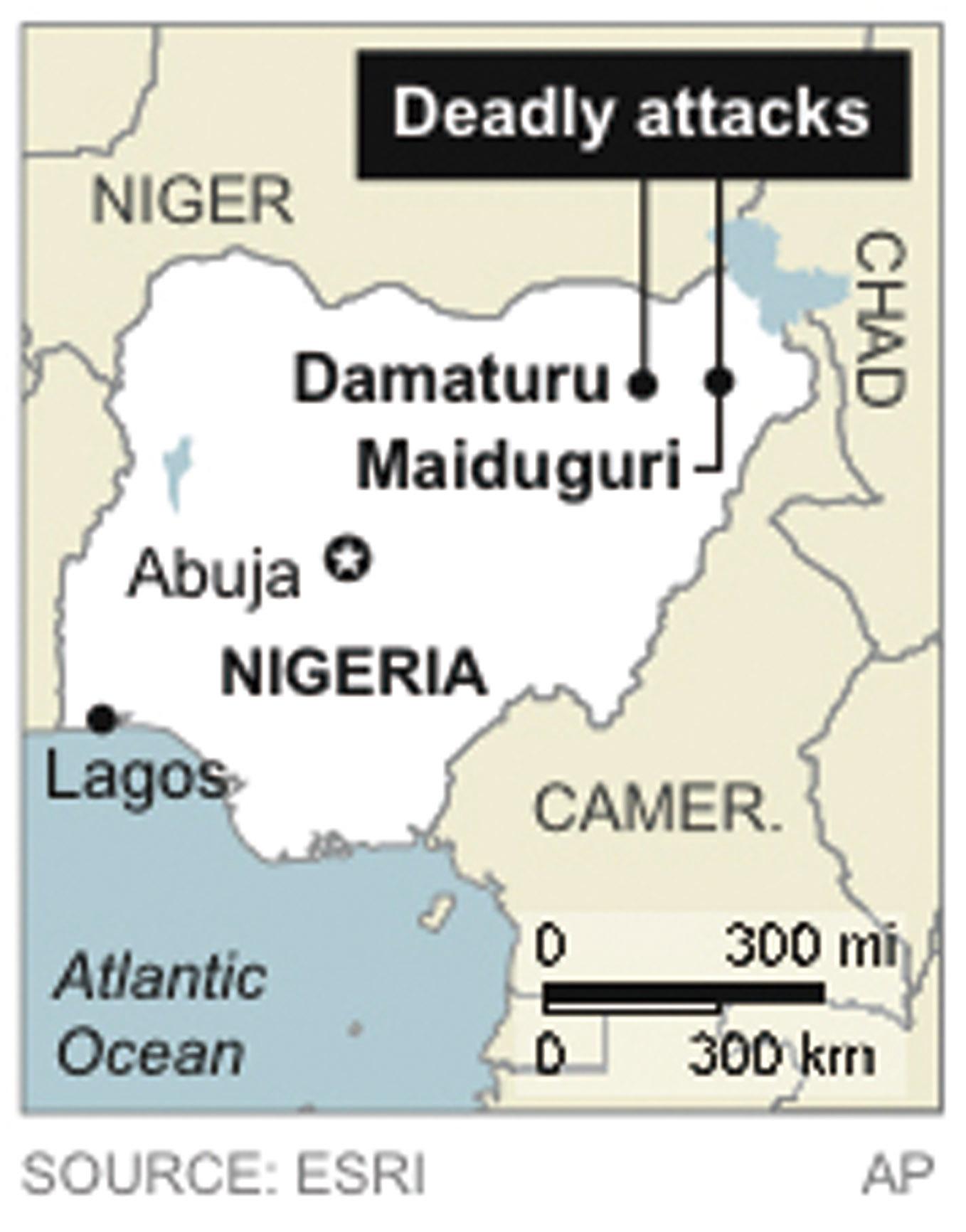Map locates deadly attacks in northeast Nigeria. (Associated Press)