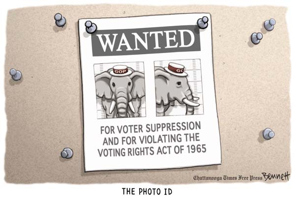 For voter suppression and for violating the voting rights act of1965.(Washington Post)