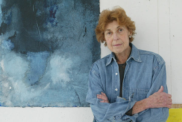 """The artist Helen Frankenthaler with her work, """"Blue Lady,"""" an acrylic on paper, in her studio on Contentment Island in Darien, Conn., April 8, 2003. (..."""