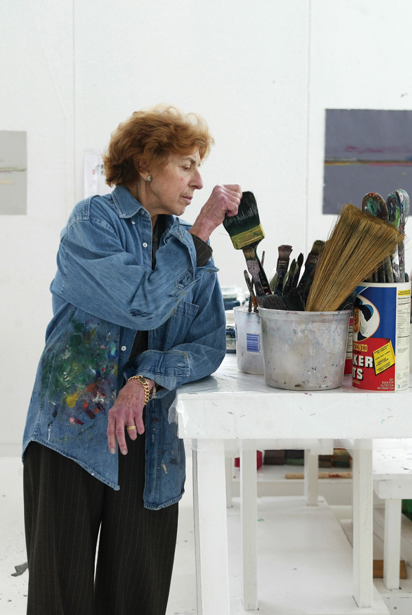 The artist Helen Frankenthaler in her studio on Contentment Island in Darien, Conn., April 8, 2003. (The New York Times)