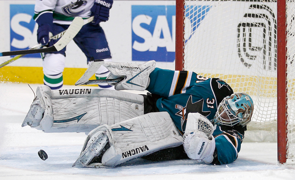 San Jose Sharks goalie Antti Niemi (31), of Finland, blocks a shot attempt Vancouver Canucks during the second period of an NHL hockey game in San Jos...