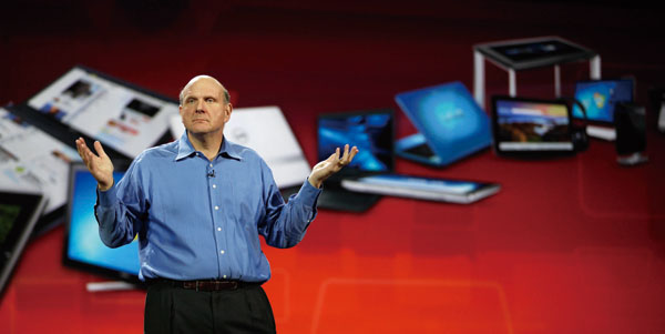 In this Jan. 5, 2011 file photo, Microsoft chief executive officer Steve Ballmer gives his Keynote speech for the Consumer Electronics Show, in Las Ve...