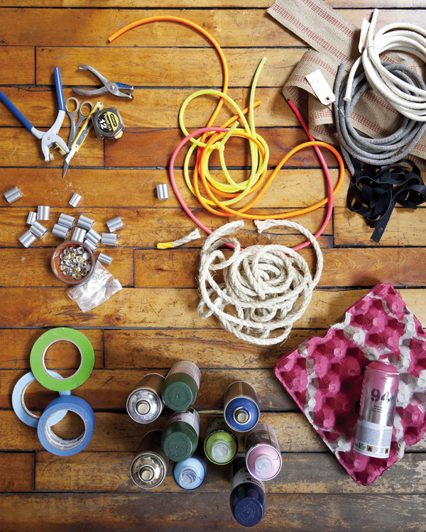 Spray paint, rubber tubbing, sisal rope and various other tools Andrew Wagner used to make stools, in New York, Oct. 12, 2011. (The New York Times) ...