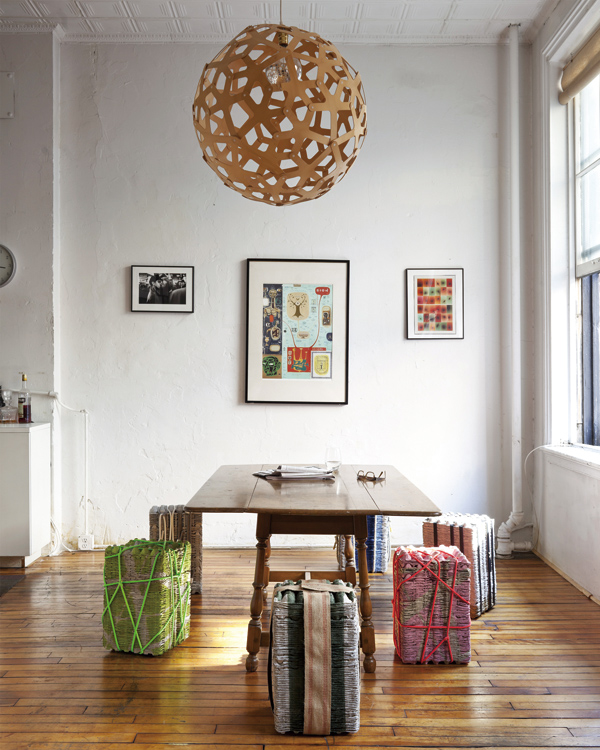 Dining stools Andrew Wagner made out of egg trays, in New York, Oct. 12, 2011. (The New York Times)