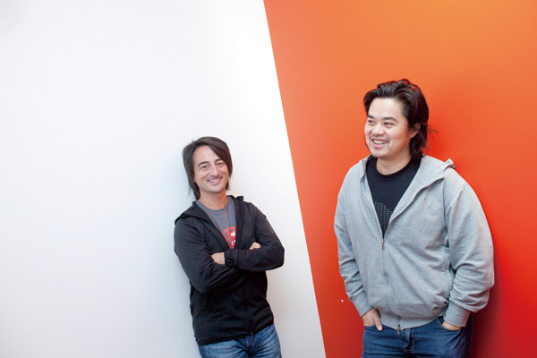 Joe Belfiore, left, and Albert Shum, who are on the Microsoft Windows Phone software team, at the company's offices in Redmond, Wash., Nov. 9, 2011. (...