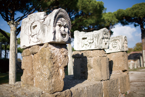 Marble theater masks at Ostia Antica's amphitheater near Rome, Oct. 30, 2011. (The New York Times)