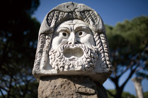 One of three marble theater masks at Ostia Antica's amphitheater near Rome, Oct. 30, 2011. (The New York Times)