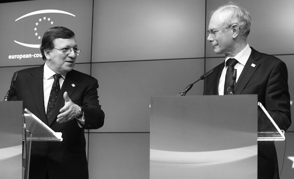 European Commission President Jose Manuel Barroso, left, and European Council President Herman Van Rompuy address the media at the end of the first da...