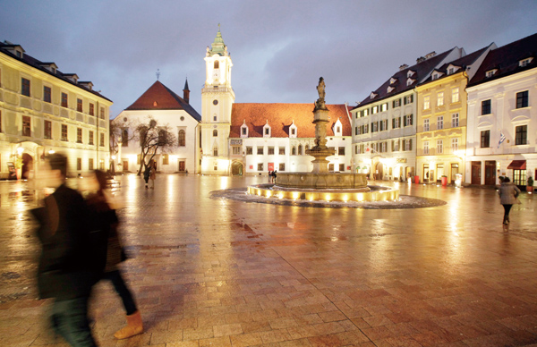 The old city hall in the center of Bratislava, Slovakia, Feb. 17, 2012. (The New York Times)