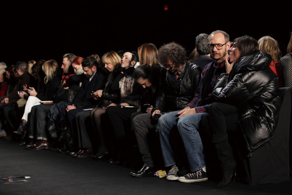 Terry Richardson, second from right, sits between the photographer Olivier Zahm of Purple magazine, third from right, and Emmanuelle Alt of French Vog...